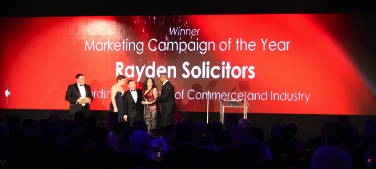 Rayden Solicitors Winner of Marketing Campaign of the Year